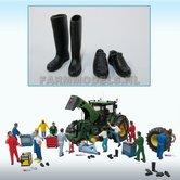 81002-1-Paar-werkschoenen-+-1-paar-(werk)-laarzen-zwart-rubber-1:32-Probeer-stunt-prijs