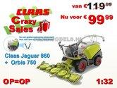 Claas-Jaguar-860-+-Orbis-750-+-gratis-stickerset-koel-roosters-op-transparant-1:32-Wiking-2016-Stuntprijs