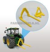 50229-Hooibalen-transport-vork-Geel-+-adapter-koppelstuk-1:32