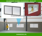 88405-1x-(Dubbel)-Raamkozijn-+-Glas-Kozijn-70-x-36-mm-Kunststof-wit-t.b.v.-(bewaar-)-loods-stal-kantoor--huis-1:32