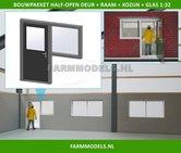88456-1x-Half-Open-Deur-+-Raam-+-Kozijn-+-Glas-Kozijn-=-70-x-67.8-mm-Kunststof-wit-t.b.v.-(bewaar-)-loods-stal-kantoor-huis-1:32