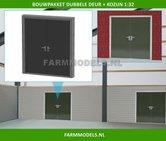 88460-1x-Dubbele-Deur-(Dicht)-+-Kozijn-Kozijn-=-63.3-x-67.8-mm-Kunststof-wit-t.b.v.-(bewaar-)-loods-stal-kantoor-huis-1:32