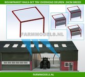 88490-1x-RAILSET-24-cm-breed-t.b.v.-(Overhead)-Deuren--Kunststof-wit-BOUWKIT-t.b.v.-(bewaar-)-loods-stal-kantoor-huis-1:32