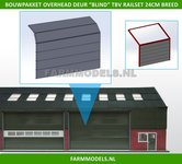 88496-1x-Overhead-Deur-ZONDER-Ramen-=-6-platen-+-10-scharnieren-t.b.v.-railset-24-cm-breed--BOUWKIT--Kunststof-wit-t.b.v.-(bewaar-)-loods-stal-kantoor-huis-1:32