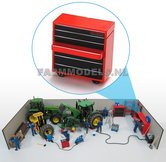 82060-Gereedschap-meubel-wandmeubel-geleverd-in-Rood-Zwart-met-beweegbare-lade-Kunststof-Werkplaats-onderdelen