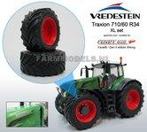 38840-F+B-Aluminium-vooras-velgen-Fendt-828-Facelift-Rood-+-Vredestein-XL-voorband--Ø-53.3-x-24.1-mm-banden-Fendt-828-facelift-Wiking-1:32