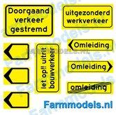 DGV-00001-Doorgaand-Verkeer-Verkeers-stickers-zwart-op-geel-1:32