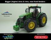JOH-5150-B-S-John-Deere-7310-Farmmodels-editie-Brede-hoge-banden-+-nieuwe-velgen-+-nieuwe-spatborden-voor-Wiking-2018-Handmatig-verbouwd-Manually-rebuilt-1:32