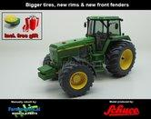 JOH-1050-B-S+FG-John-Deere-4955-+-FREE-GIFT-JD-GPS-Farmmodels-editie-Brede-banden-+-nieuwe-velgen-+-nieuwe-spatborden-voor-Handmatig-verbouwd-Manually-rebuilt-1:32--Schuco-SCH07645