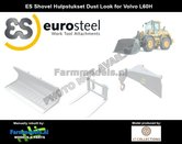 Dirty:-3x-EuroSteel:-Puinriek-Palletvork-&-Hijsjip-set-STOF--&-SLIJTLOOK-voor-snelwissel-Volvo-L60H--L70H-&-L90H-Shovel-1:32---AT3200121-D
