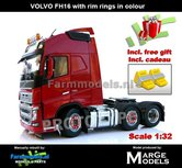 Rebuilt-RED-3-Axle-Volvo-FH16-+-VELGPLAAT-ROOD--incl.-gratis-set-Wielkeggen-1:32-MM1811-03-R