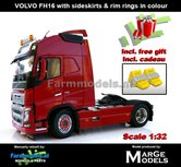 Rebuilt-RED-2-Axle-Volvo-FH16-+-VELGPLAAT-ROOD-incl.-gratis-set-Wielkeggen-1:32-MM1810-01-R