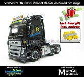 New-Decals-&-Rebuilt-NEW-HOLLAND-3-Axle-Volvo-FH16-ANTHRACIET--incl.-gratis-set-Wielkeggen-1:32-MM1811-02-NR