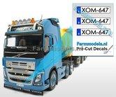 XOM-647-3x-BE-WITTE-Kentekenplaatsticker-ZWARTE-LETTERS-Pré-Cut-Decals-1:32-Farmmodels.nl