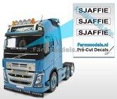 SJAFFIE--3x-WITTE-Kentekenplaatsticker-ZWARTE-LETTERS-Pré-Cut-Decals-1:32-Farmmodels.nl