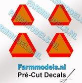 Gevarendriehoek-stickers-GEEL--ORANJE-met-RODE-randen-Pré-Cut-Decals-1:32-Farmmodels.nl
