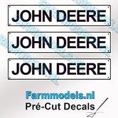 JOHN-DEERE--3x-WITTE-Kentekenplaatsticker-ZWARTE-LETTERS-Pré-Cut-Decals-1:32-Farmmodels.nl