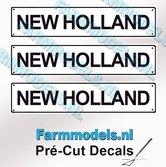 NEW-HOLLAND--3x-WITTE-Kentekenplaatsticker-ZWARTE-LETTERS-Pré-Cut-Decals-1:32-Farmmodels.nl