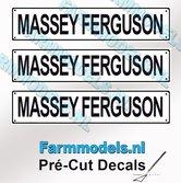 MASSEY-FERGUSON--3x-WITTE-Kentekenplaatsticker-ZWARTE-LETTERS-Pré-Cut-Decals-1:32-Farmmodels.nl