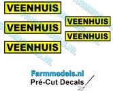 5x-VEENHUIS-Geel--Zwart-stickers-4.6mm-&-3.7mm-hoog-Pré-Cut-Decals-1:32-Farmmodels.nl