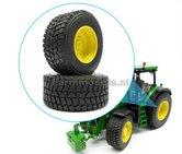 Gazon--Transport---Nokian-(achteras)-banden-+-Diecast-velgen-John-Deere-geel-gespoten-Ø-64.8-mm-1:32-Universele-set