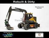 Rebuilt-&-Dirty-BLACK-RIMS-Volvo-EWR150E-kraan-MITAS-banden-STOF--&-SLIJTLOOK-+-Tiltrotator-S6-S60-snelwissel-+-bak-1:32--AT3200100-RD