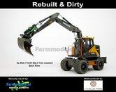 Rebuilt-&-Dirty-BLACK-RIMS-Volvo-EWR150E-kraan-LAGEDRUK-BANDEN--ZWARTE-VELGEN-STOF--&-SLIJTLOOK-+-Tiltrotator-S6-S60-snelwissel-+-bak-1:32--AT3200101-RD