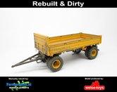 Rebuilt-&-Dirty-4-wieler-Bakkenwagen-DUBBELLUCHT-VOLVO-GEEL--GRIJS-geschikt-voor-div.-mobiele-kranen-&-shovels-1:32