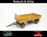 Rebuilt-&-Dirty-4-wieler-Bakkenwagen-ENKELLUCHT-VOLVO-GEEL--GRIJS-geschikt-voor-div.-mobiele-kranen-&-shovels-1:32