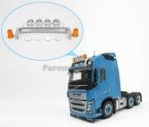 Cabine-dakrand-Lichtbalk-met-4-lampen-en-2-oranje-zwaailichten-origineel-Volvo-FH16-item-1:32