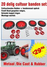 20-Delig-Rood-Cultuurwielen-aanvullende-set-Dubbellucht-Die-Cast-Velgen-+-Getande-koppelringen-1:32