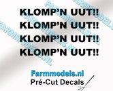 4x--KLOMPN-UUT!!-ZWART-op-transparante-stickers-7-mm-hoog-Pré-Cut-Decals-1:32-Farmmodels.nl