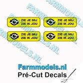 4x-ZIE-JE-MIJ-ZIE-IK-JOU-Zwarte-tekst-gele-stickers-afm.-3.7-x-12-mm-Pré-Cut-Decals-1:32-Farmmodels.nl