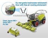 Claas-Jaguar-860-+-Orbis-750-+-PU-300-+-gratis-stickerset-koel-roosters-op-transparant-1:32-Wiking-WK77812---SUPERSALE